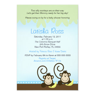 Two twin Silly Monkeys Boys Baby Shower 5x7 Card