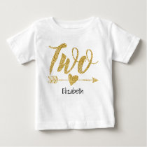 Two|Two Years Old Glitter-Print Personalized Baby T-Shirt