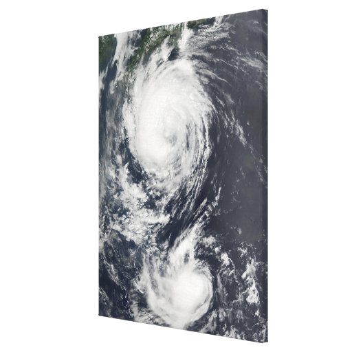 Two Typhoon systems approaching the Far East Stretched Canvas Prints