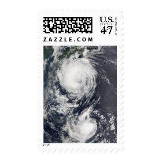 Two Typhoon systems approaching the Far East Postage