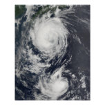 Two Typhoon systems approaching the Far East Poster
