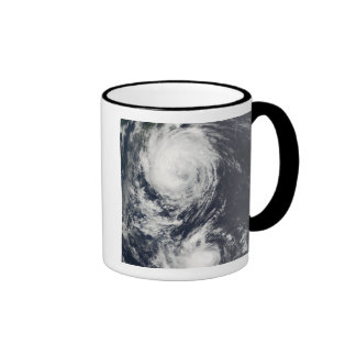 Two Typhoon systems approaching the Far East Ringer Coffee Mug