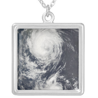 Two Typhoon systems approaching the Far East Silver Plated Necklace