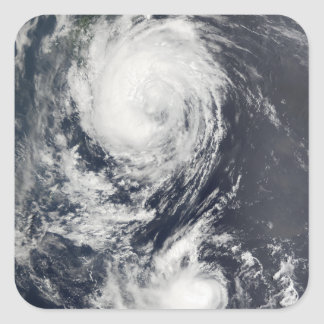 Two Typhoon systems approaching the Far East Square Sticker