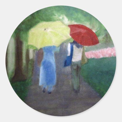 Two Umbrellas Classic Round Sticker