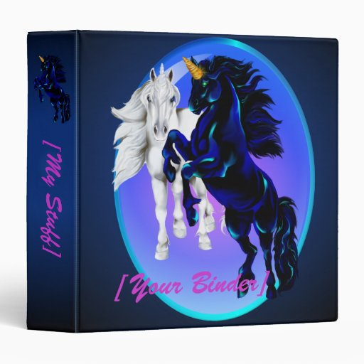 Two Unicorn Stallions Oval binder_15_front.v4 Vinyl Binder