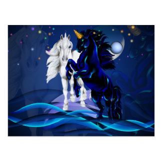 Two Unicorns and WavesPost Card