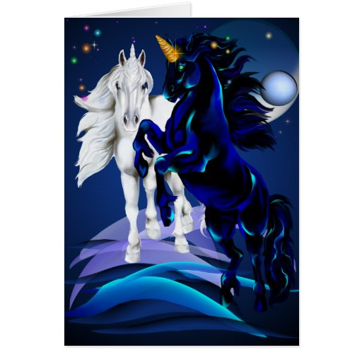 Two Unicorns Card