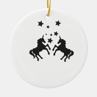 Two unicorns ceramic ornament