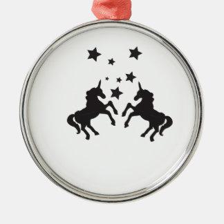 Two unicorns metal ornament