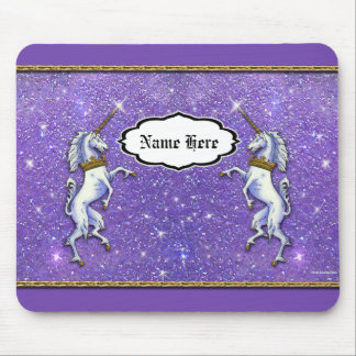 Two Unicorns Purple Faux Glitter Mouse Pad