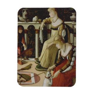 Two Venetian Ladies (panel) Rectangle Magnet