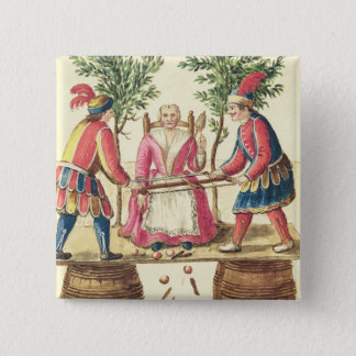 Two Venetian magicians sawing a woman in half Button