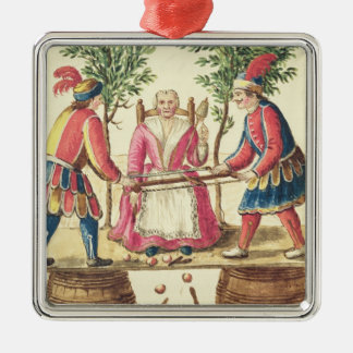 Two Venetian magicians sawing a woman in half Metal Ornament
