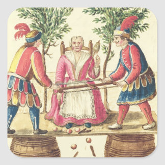 Two Venetian magicians sawing a woman in half Square Sticker