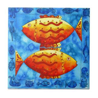 Two Vibrant Goldfish Ceramic Tile