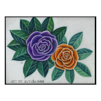 Two Vibrant Roses Poster