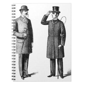 Two victorian gentlemen spiral notebooks