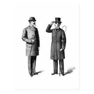 Two victorian gentlemen postcard