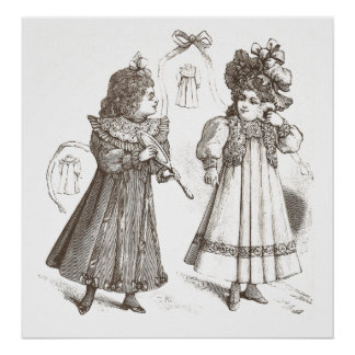 Two Victorian Girls with a Mirror Antique Print