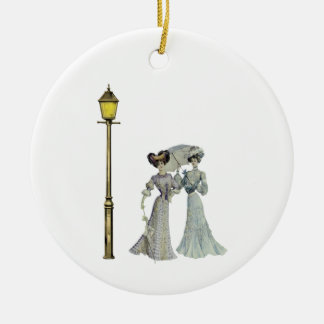 Two Victorian Ladies and Lamp Post Ceramic Ornament