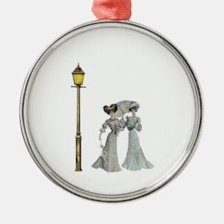 Two Victorian Ladies and Lamp Post Metal Ornament