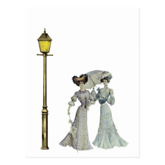 Two Victorian Ladies and Lamp Post Postcard