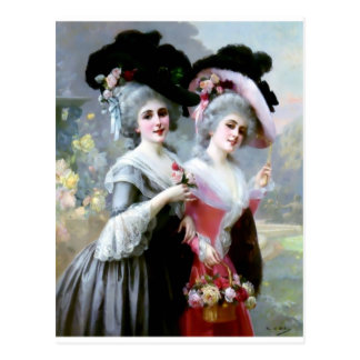 Two Victorian Ladies with Roses painting Postcard