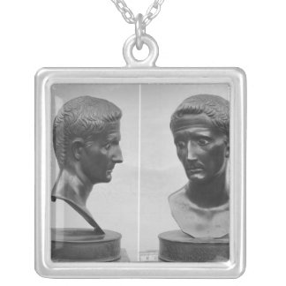 Two views of a bust of Emperor Augustus Silver Plated Necklace