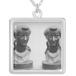 Two views of a bust of Livia Silver Plated Necklace