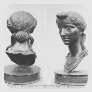 Two views of a bust of Livia Square Sticker