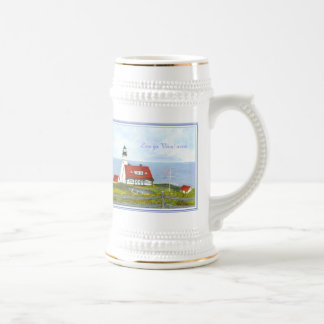 Two views of Portland Head Light Winter and Autumn Beer Stein