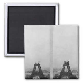 Two views of the construction of the Eiffel Fridge Magnet