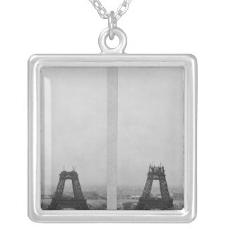 Two views of the construction of the Eiffel Custom Necklace