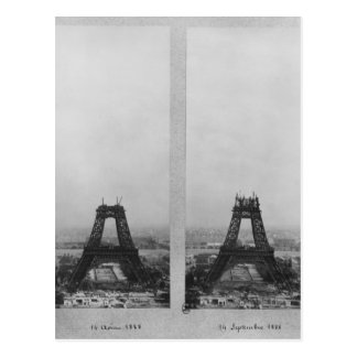 Two views of the construction of the Eiffel Postcard