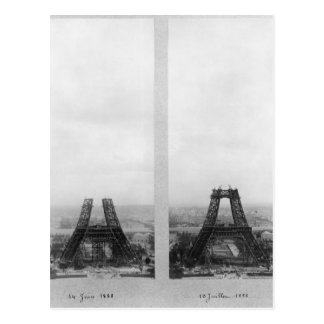 Two views of the construction of the Eiffel Post Cards