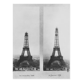 Two views of the construction of the Eiffel Postcards