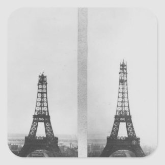 Two views of the construction of the Eiffel Square Sticker