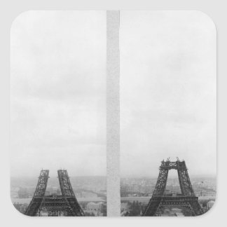 Two views of the construction of the Eiffel Stickers
