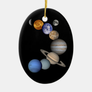 Two Views Of The Solar System Double-Sided Oval Ceramic Christmas Ornament