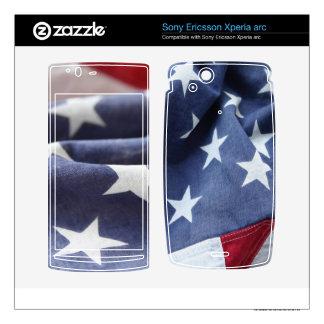 two views of the USA flag Xperia Arc skin