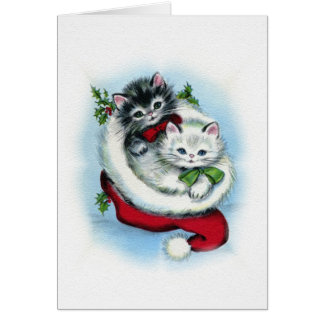 two vintage christmas kittens greeting card