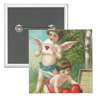 Two Vintage Cupids Delivering Hearts. Button