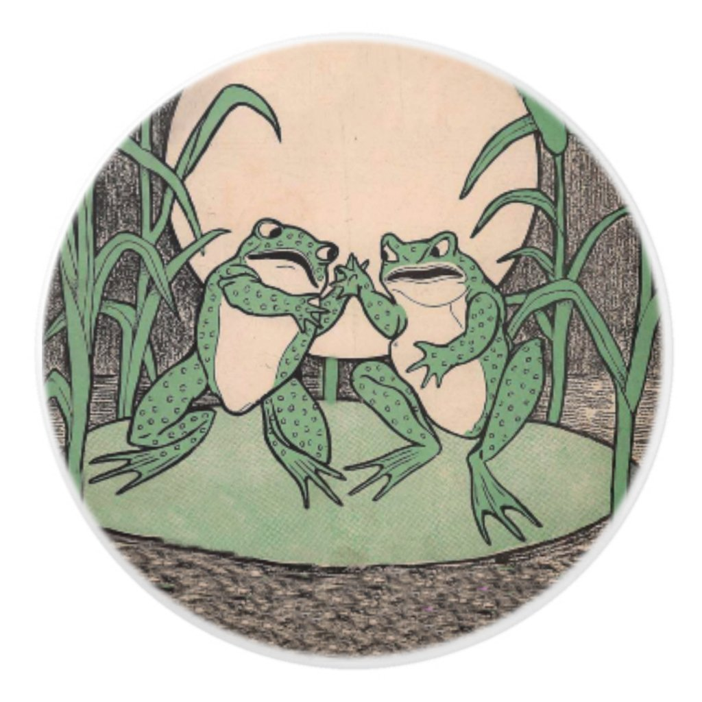 Two Vintage Funny Love Green Frogs Moon Ceramic Knob