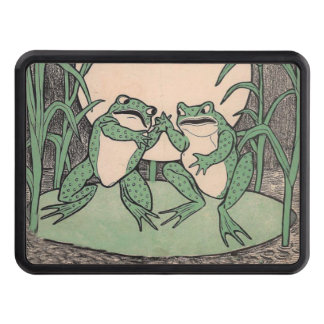Two Vintage Funny Love Green Frogs Moon Hitch Cover