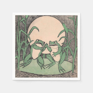 Two Vintage Funny Love Green Frogs Moon Paper Napkin