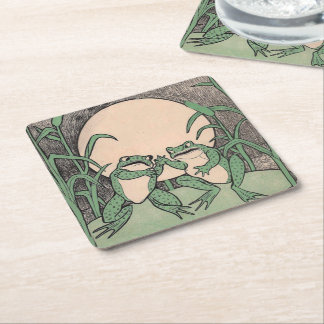 Two Vintage Funny Love Green Frogs Moon Square Paper Coaster