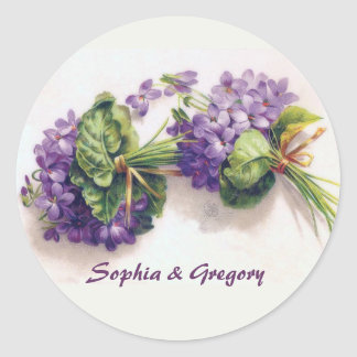 Two Vintage Violet Bouquets Classic Round Sticker