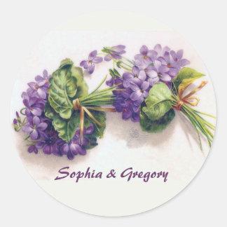 Two Vintage Violet Wedding Bouquets Classic Round Sticker