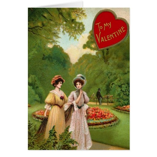 Two Vintage Women Valentine Card